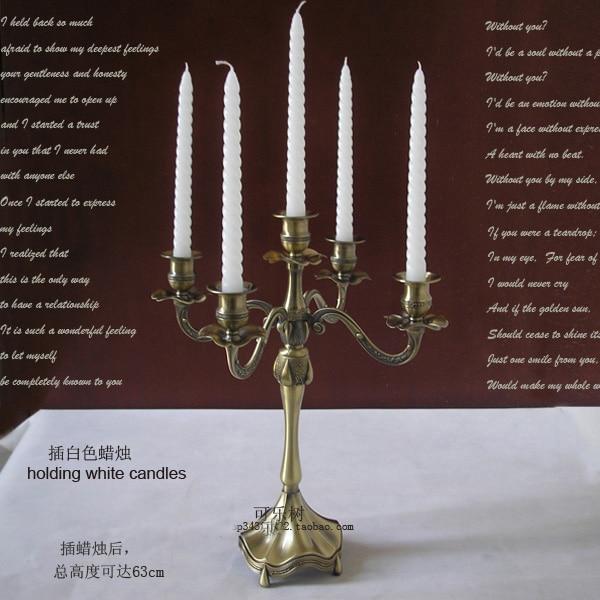 H45cm bronzová 5 ramenní svícen vintage svíčky lucerny vintage lucerny svíčky dekorace stříbrné svícny ZT053bf
