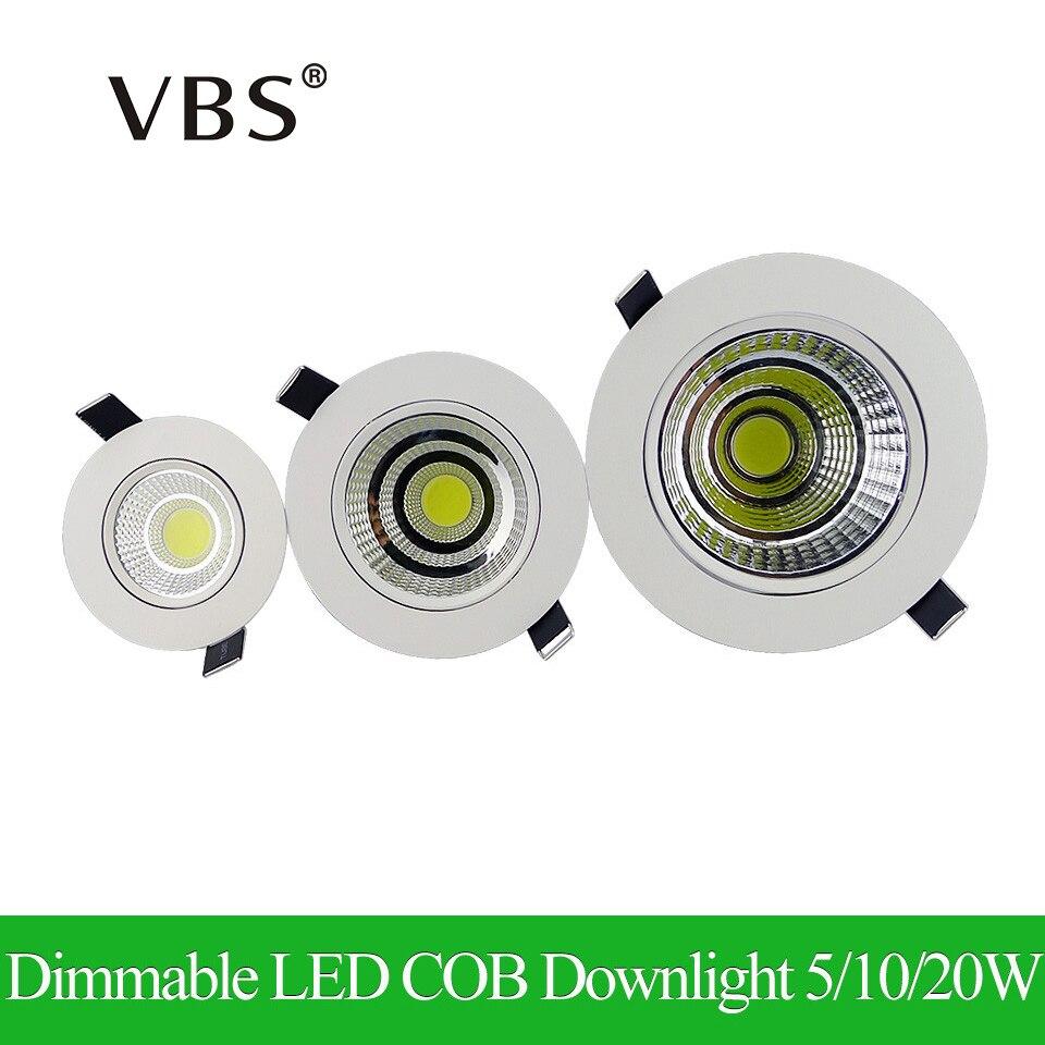 Nejnovější stmívatelné LED svítidlo COB Downlight 5W 10W 20W Spot LED Svítilna Stříbrná Stropní svítidlo 110 V 220V Vnitřní svítidlo