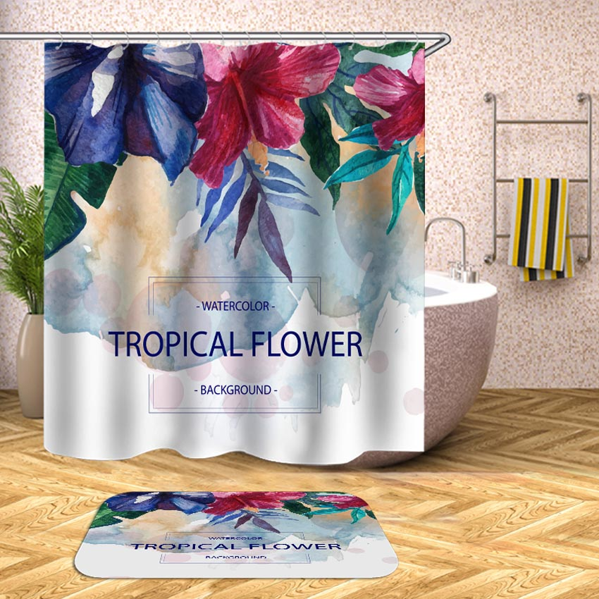 Tropical Plant Shower Curtain Flowers Leaves Waterproof Bath Curtains for Bathroom Bathtub Bathing Cover Large Wide 12pcs Hooks