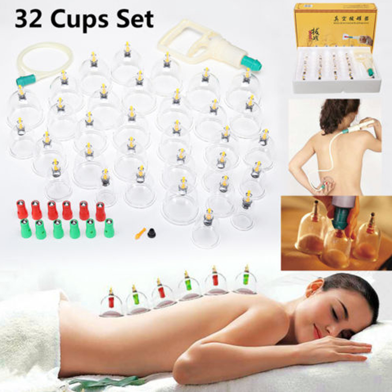 все цены на 32 Cups Set Medical Cup Kit Chinese Vacuum Slimming Body Cupping Set Massage Therapy Relaxation Healthy Massage Machine онлайн