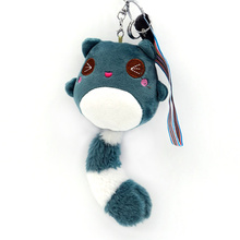 Lovely Odd Bears Key Chain Push Doll Long Tail Toys Keychains Pom Pom Cartoon Animal Ribbon Key Ring Women Bags Chains Jewelry