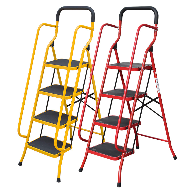 Household Folding Retractable Ladder Double-sided Safety Escalators Step Ladder Higher Security Platform Ladder цены