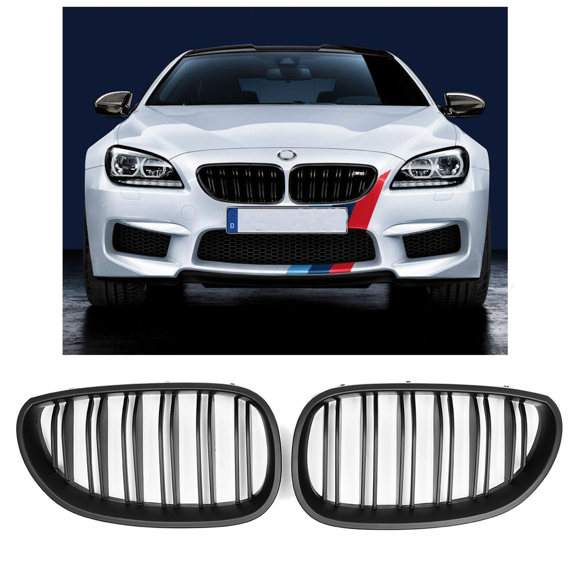 Pair New Matte Black Front Grill Grille Kidney For BMW E60 E61 5 Series M5 2003 2004 2005 2006 2007 2008 2009 Car Accessories e60 abs front kidney grille grill for bmw 5 series e60 2004 2009 sedan e61 hatchback 1 slat 2 slat 535i 545i