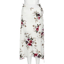 Women High-Waisted Summer Skirts Vintage Elegant Boho Asymmetrical Split Ends Printing Sandy Party beach Casual Flared Skirt