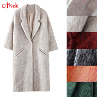 Cthink Russia Winter Thicken Long Wool Coat Women Warm Nine Quarter Sleeve Outerwear For Woman Fashion Deep Autumn Womens Coats