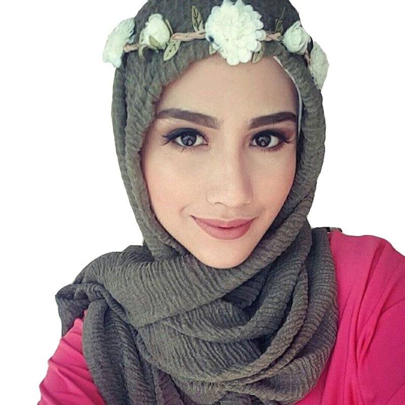 wholesale price 90*180cm women muslim crinkle hijab scarf femme musulman soft cotton headscarf islamic hijab shawls and wraps