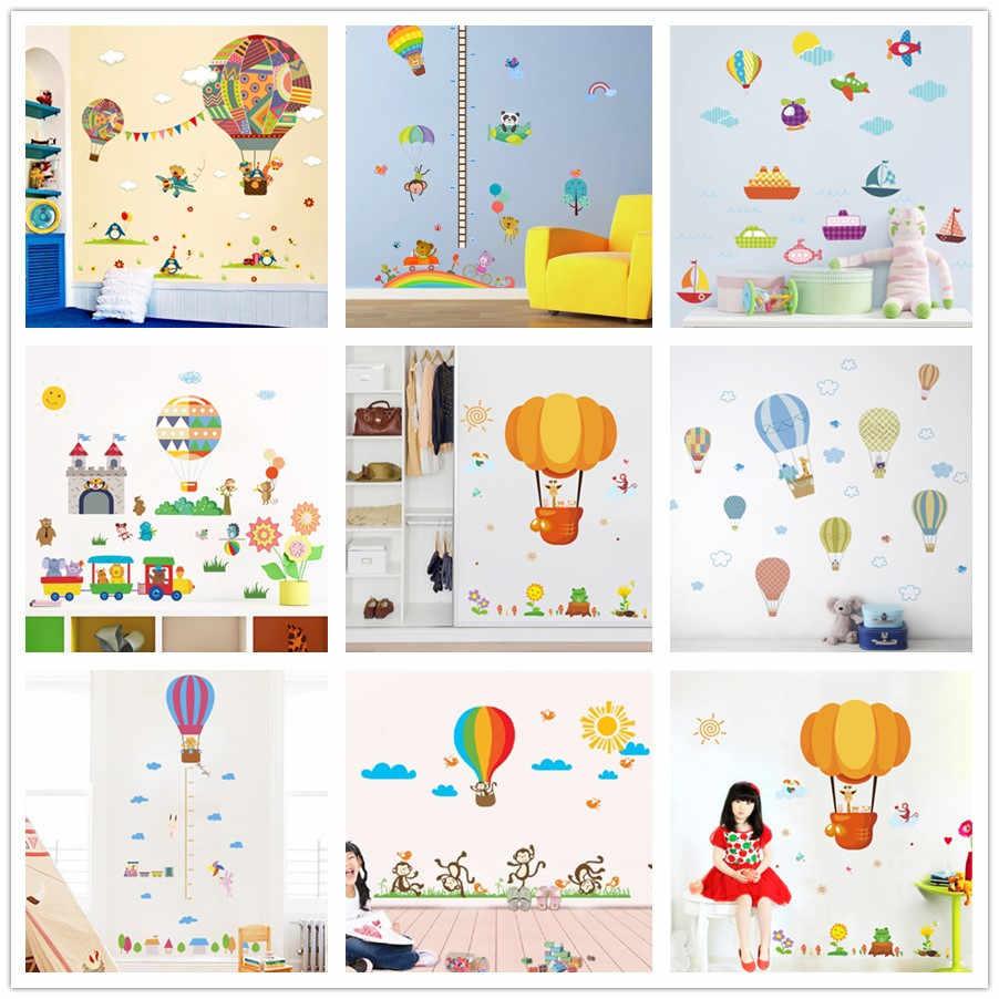 % Kleurrijke Luchtballon dier Giraffe Kinderkamer wall sticker voor Kinderen Kamers kinderkamer cartoon Muurstickers muurschildering