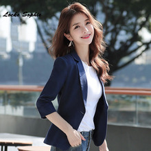 1pcs Womens Plus size Slim fit Blazers coats 2019 Autumn cotton Middle sleeve Small Suits jackets ladies Skinny