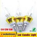 1pcs Led Candle lamp E14 220v 15w 3w 6w 9w 12w Epistar chip SMD5730 Warm/Cool White Led bulb E14 free sgipping