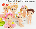 Birthday Present for Kids Diy 12cm Doll Cute Mini Dolls with Headwear Brown Bun Hair Baking Mold Dolls Girl Toys Children Gift