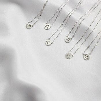 3bc343d4ce0d 925 de plata esterlina signo del zodiaco astrología redonda 12  Constellation collares colgantes Declaración de las mujeres accesorios de  la joyería