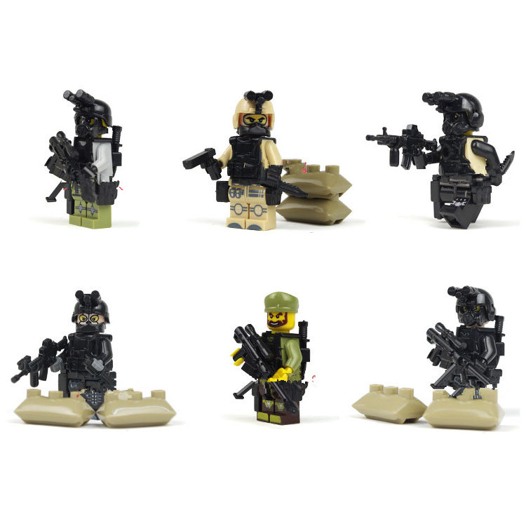 Bainily12pcs-With-Many-Weapons-World-War-Ghost-Assault-Military-Soldier-Compatible-Legoe-Weapon-Model-Building-Block-Bricks-4