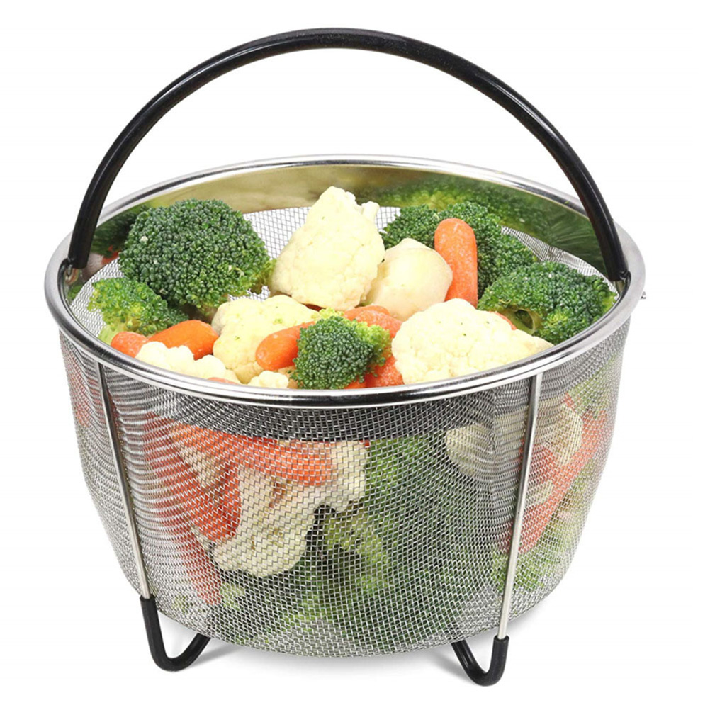 Stainless Steel Steamer Basket With Silicone Handle And Non-Slip Legs Vegetable Mesh Basket Strainer Egg Steamer Pressure Cooker
