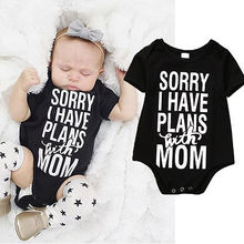 Newborn Kids Clothes Baby Infant Boy Girl Cotton Short Sleeve Black Bodysuit Letter Printing Jumpsuit Outfit