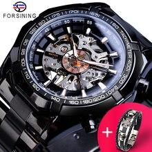 Forsining Horloge + Armband Set Combinatie Racing Sport Klok Lichtgevende Handen Mannen Mechanische Horloges Black Steel Relogio Masculino