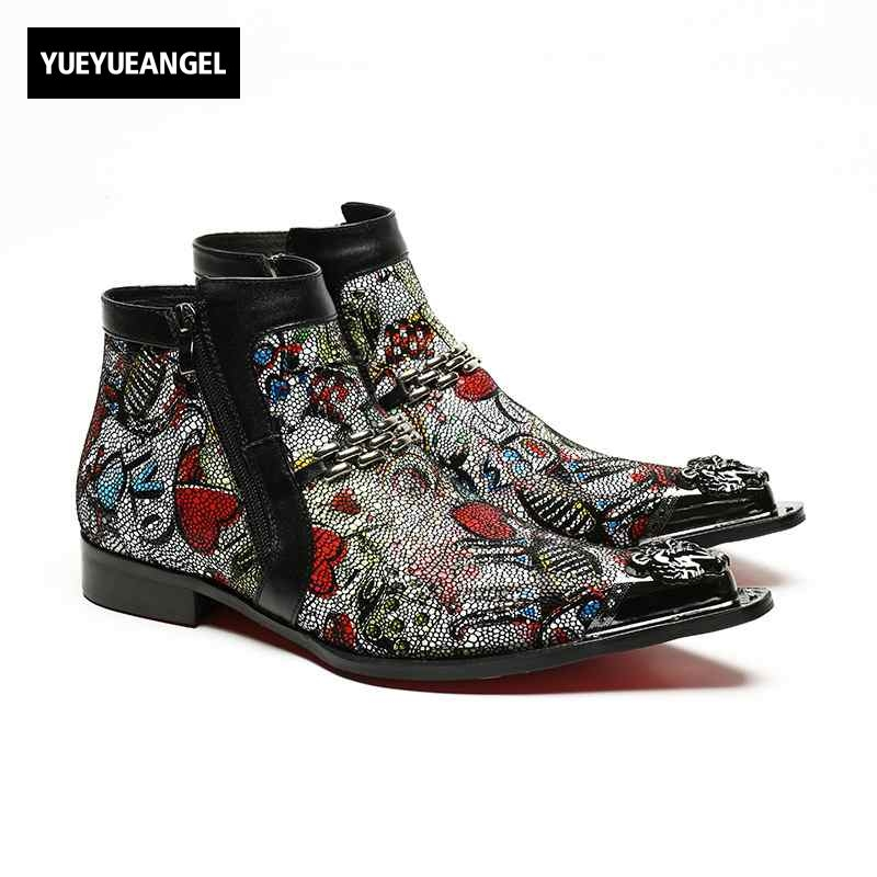 2018 New Designer Style Metal Trend Cool Zipper Hand Painted Priting Mens Ankle Boots Male Warm Breathable Shoes Footwear Size46 2018 new designer style metal trend cool zipper hand painted priting mens ankle boots male warm breathable shoes footwear size46