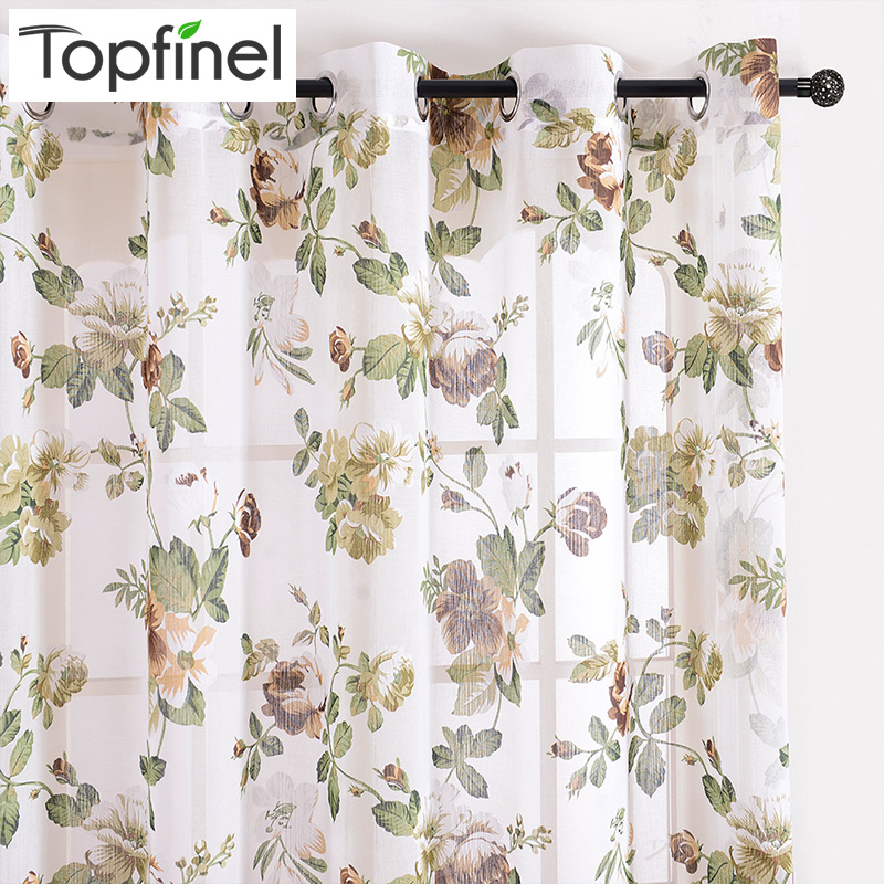 Topfinel Modern Floral Window Curtains for Living Room Luxurious Bedroom Tulle Curtains for Window Sheer Curtain Panel Drapes