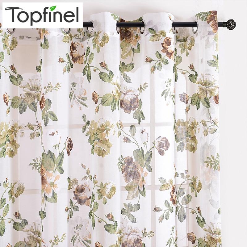 Topfinel Modern Floral Window aizkari dzīvojamā istabā Greznas guļamistabas tilla aizkari logu spārnu aizkaru paneļiem