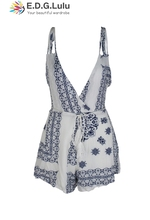 playsuit vintage chic sexy casual club party elegant short beige white floral printed tank sleeveless belt 2018 women summer