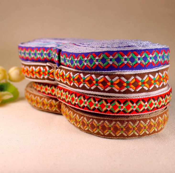 Inheemse Borduurwerk Etnische Jacquard Singels Geweven Tape Kant Lint 2 Cm Kledingstuk Accessoire Decoratie Tribal Boho Gypsy Diy Hmong