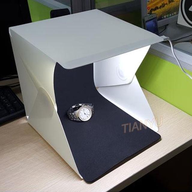20*20cm 30*30cm 40*40cm Mini Folding Studio Diffuse Soft Box Lightbox With LED Light Black White Photography Background Photo 4