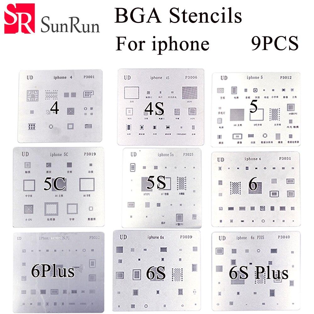 High quality 9pcs/lot ! high quality full set BGA Reballing Stencil dedicate kit for iPhone 4 4s 5 5s 5c 6 6+ 6S 6s+