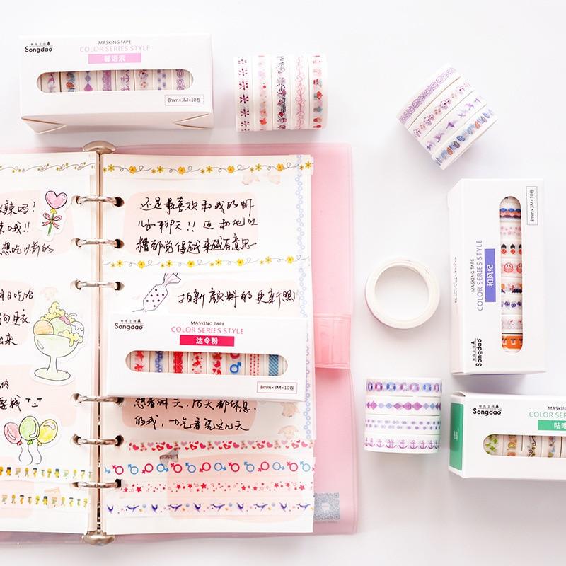 10pcs/lot Coloured Broken Flowers Cartoon Life Cute Paper Masking Washi Tape Set Stationery Scrapbooking Supplies