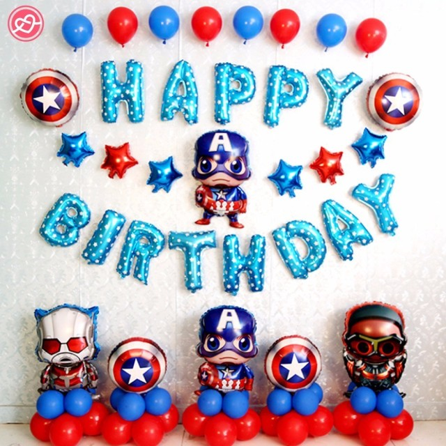 Super Hero Captain America Theme Foil Balloons Baby Boy Kids 1st Birthday Party Decoration Shower