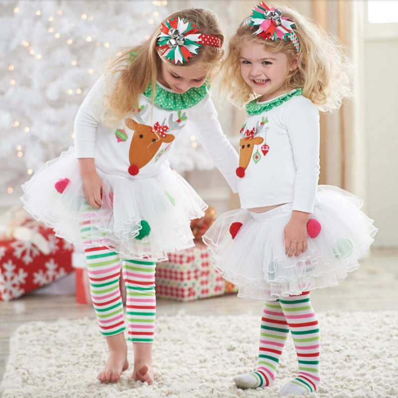 New Girls Boutique Clothing Cotton Children Clothing Christmas Outfits Elk  Kids Girl Clothes Sets Tutu Dress Girl Party Dress - Fashion Child Garment Girls Boutique Outfits Ruffle Pants Toddler