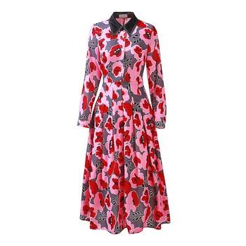 High quality design floral print long sleeve dress New 2018 autumn runways high-waisted dress Chic OL dress D196