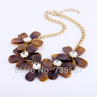 Handmade Women Elegant Brown Resin Flower Bib Necklace