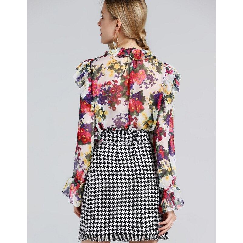 Jc2843 Couleur Tweed Jupe 2019 Floral Haut Femmes One De Mousseline Gland Jeu Printemps Petit Costumes Set Imprimé Blanc Noir Nouvelles Piste Contraste Soie IRTnSHS