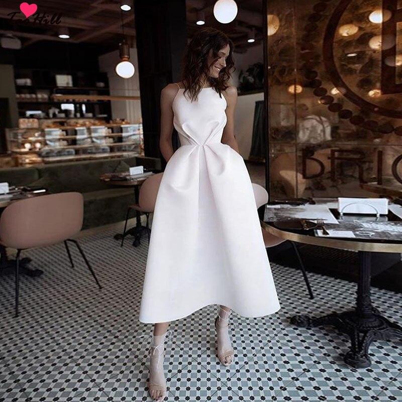 TaoHill nouvelle Simple Beige Satin Robe De soirée plis Robe De soirée élégante thé-longueur Spaghetti bretelles Robe De soirée Robe formelle