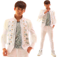 Men's Fashion Tassel Diamond Paillette White Slim Suit Jacket Costume Party show singer dancer stage performance coat outwear