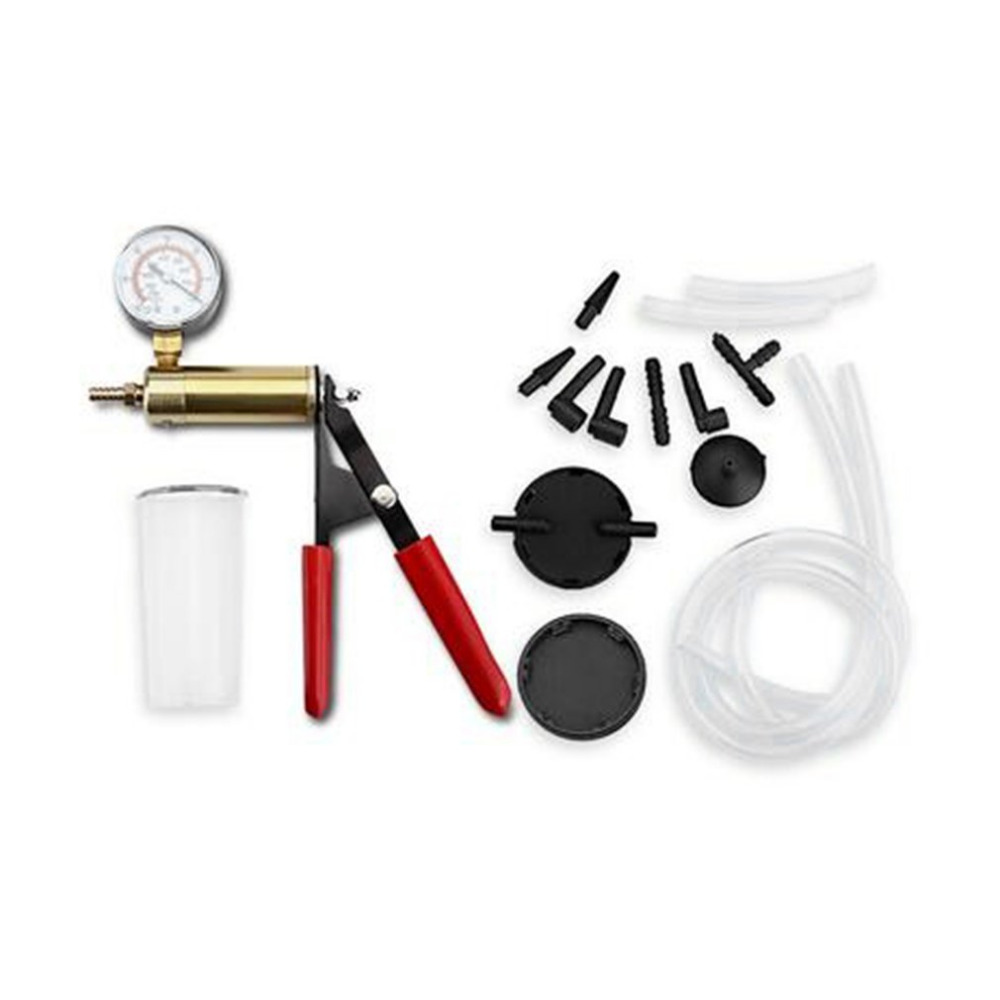 New Styling Hand Held Vacuum Pump Tester Set & Brake Bleeder Kit Car Motorbike Self Vacuum Pump Screw Adapter With Vacuum Gauge