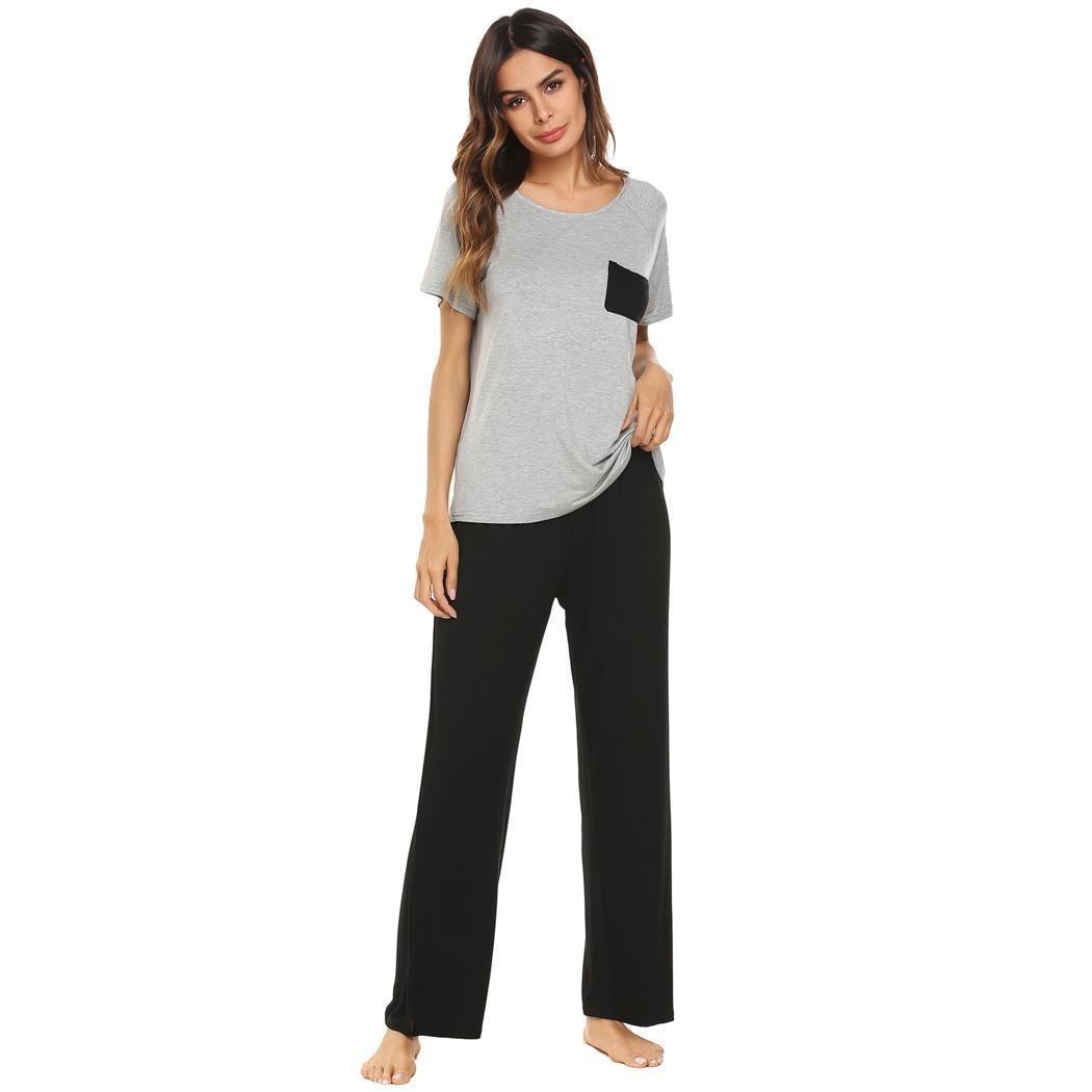 Ekouaer Female Pajamas Set Cotton Nightwear O-Neck Short Sleeve Full Length Women Sleepwear Set Homewear Clothing