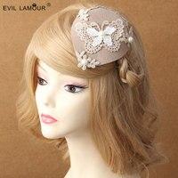 Princess Lolita Hairpin Lace Butterfy Winter Pearl Lady Cream Colore David Ray Hat Clip Accessories British