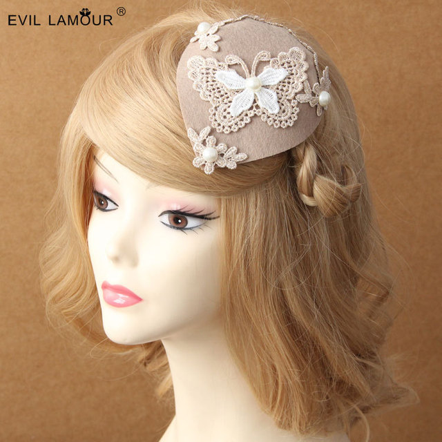743756ba4d03d Princess lolita hairpin Lace butterfly winter pearl lady cream color David  ray hat clip accessories British