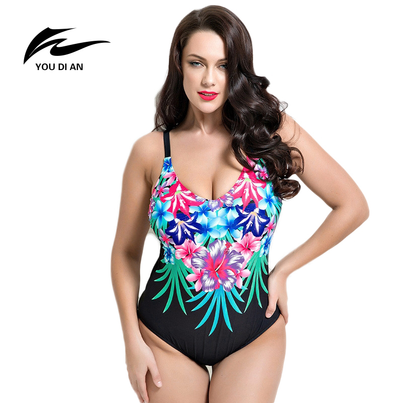 YOUDIAN 2017 Women New Plus Size One Pieces Swimwear Spandex Padded Floral Printed Women Bathing Suits Large Bust Swimsuits plus size womens swimsuit one piece backless swimwear floral print padded bathing suits large cup bust swimsuits for lady