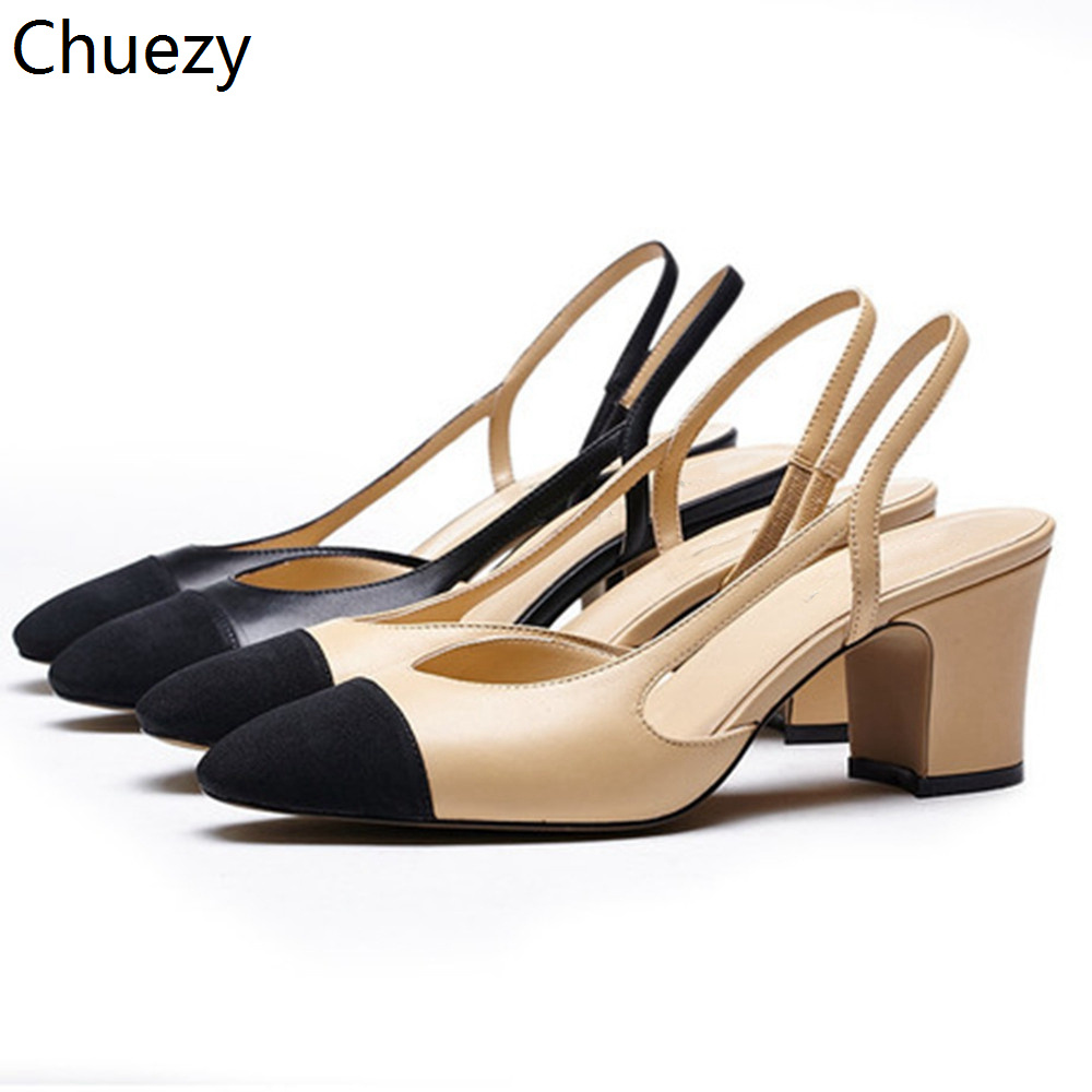 Women's Shoes Pump Square Low-Heels Max-Color Genuine-Leather Sandals Pointed-Toe Summer
