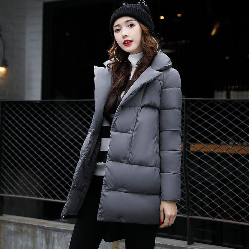 Women Coats 2017 New Fashion Women Winter Down Jacket Long Duck Thicken Warm Lapel Neck Casual Loose Parka Plus Size