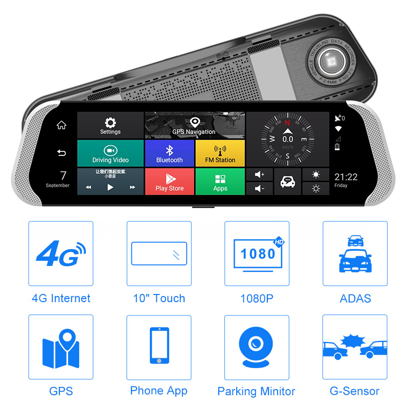 Model 786 3g Car Recorder 9.35 Inch Full Screen Smart Rearview Mirror Hd Android Navigation 1080p Fm Bluetooth Call Recorder Moderate Price Dvr/dash Camera
