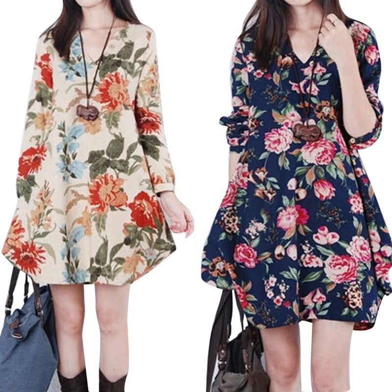7ec49d8edaf98 Women Floral Pattern Pregnant Dress Cotton Linen Casual Loose Long Sleeve  V-neck Dresses For Female Spring Autumn Clothing
