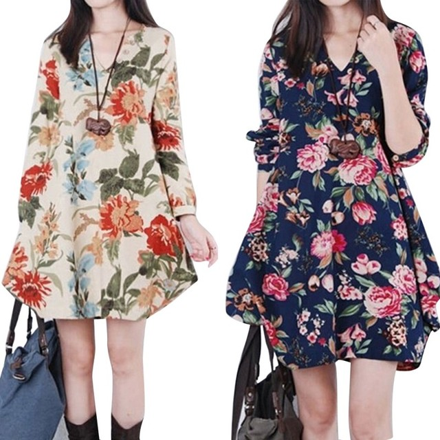 cee4de39991c0 US $5.31 14% OFF|Women Floral Pattern Pregnant Dress Cotton Linen Casual  Loose Long Sleeve V neck Dresses For Female Spring Autumn Clothing-in  Dresses ...