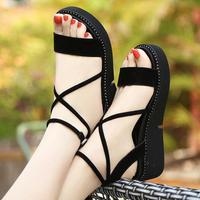 D Henlu Plus Size Shoes Women Sandals Flats Sandals Platform Summer 2018 Gladiator Sandal Women Ankle