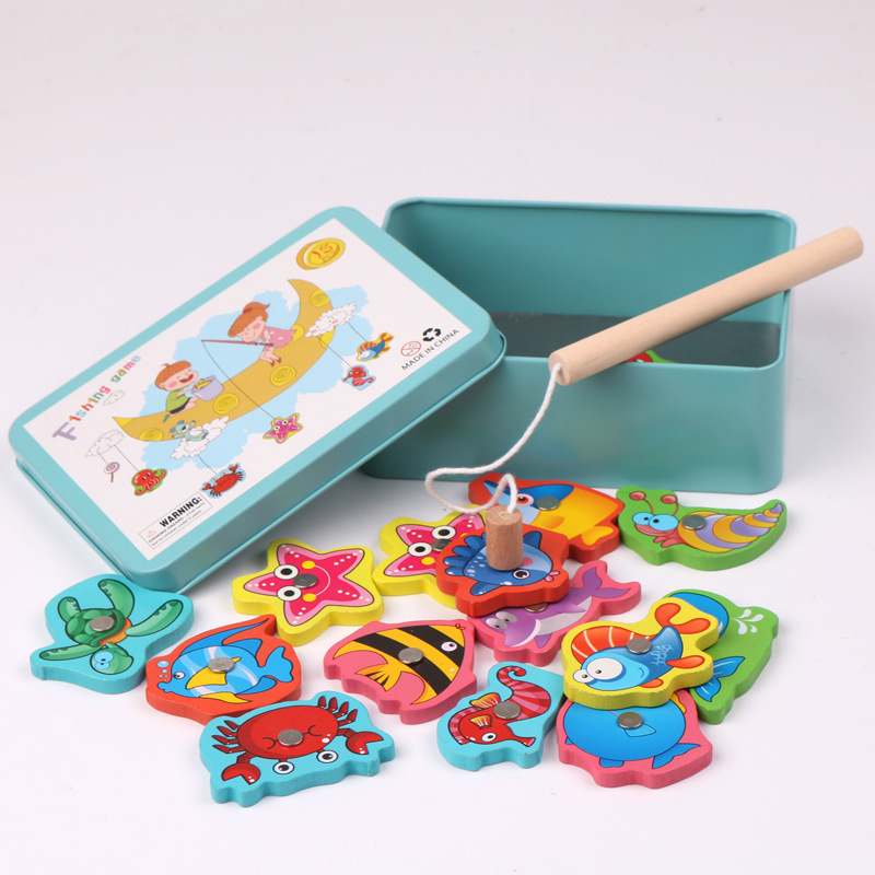 Baby Toys 15pcs Magnetic Fishing Educational Fishing Game Puzzle Wooden Toys Table Game For Baby Child Birthday Christmas Gift