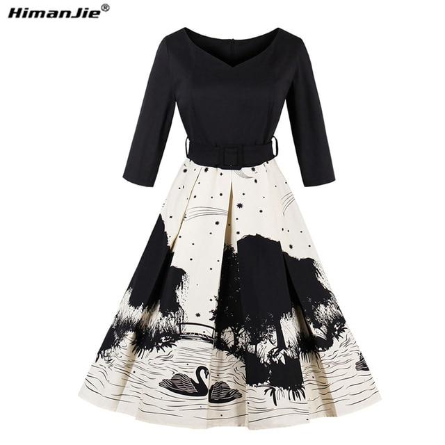 HimanJie 2017 New Autumn Wome Vintage dress swan  ink printing robe 50s Audrey hepburn 3/4 sleeve female Party Dresses Vestidos