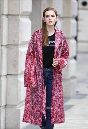 Épaississement EVA Impression Dentelle Imperméable Femmes Filles Transparent Pluie Manteau imperméable ponchos mujer En Plastique Pluie Veste Trench
