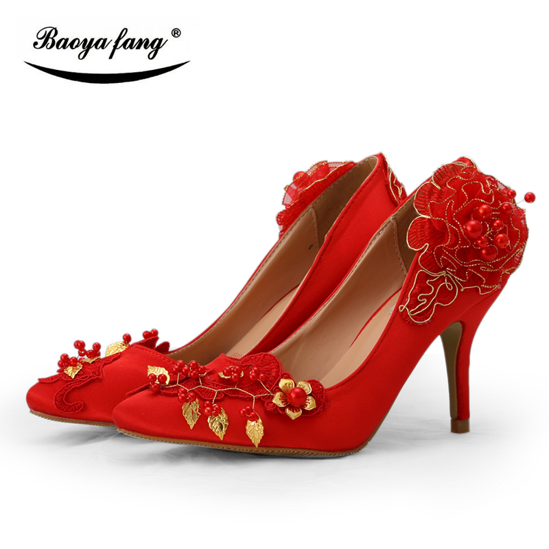 BaoYaFang Red pointed toe womens Wedding shoes Bride 8cm Med heel party dress shoes ladies Pumps gold leaves red flower shoe 00009 red gold bride wedding hair tiaras ancient chinese empress hair piece