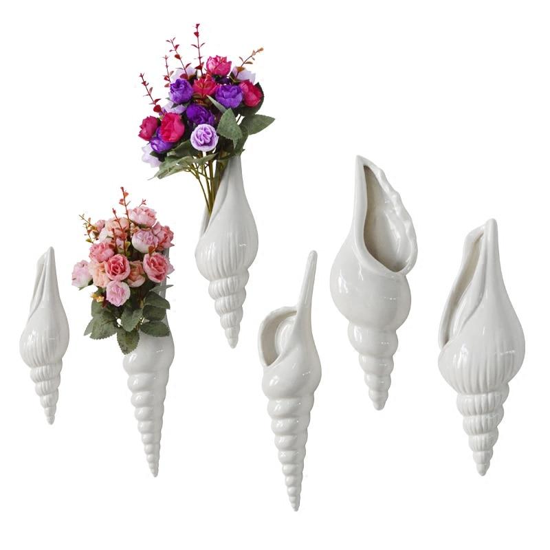 Conch wall hanging decorative vases pure white ceramic craft flower suspension Mediterranean style wedding background decor